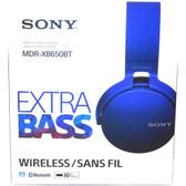 Sony XB650BT Extra Bass Bluetooth Headphones - Stereo - Blue - Wireless - Bluetooth - 24 Ohm - 20 Hz - 20 kHz - Over-the-head - Binaural - Circumaural - MDR-XB650BT/L