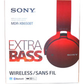 Sony XB650BT Extra Bass Bluetooth Headphones - Stereo - Red - Wireless - Bluetooth - 24 Ohm - 20 Hz - 20 kHz - Over-the-head - Binaural - Circumaural