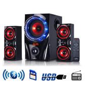 beFree Sound 2.1 Channel Surround Sound Bluetooth Speaker System in Red - BFS-99X-RB