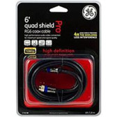 GE 37665 6.0 feet Quad Shield RG6 Coaxial Cable