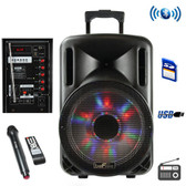 beFree Sound 12 Inch Bluetooth Rechargeable Party Speaker With Illuminatiing Lights - BFS-4435-RB - BVBVBVMEGA-BFS-4435-RB