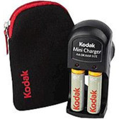 Kodak 1720804 Mini Charger Kit with Camera Case - 2 x Nickel Metal Hydride AA Rechargeable (Batteries Not Included) - Black