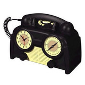 US Basic AM/FM Retro Clock Radio Phone - 841179-RB