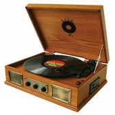 Back To The 50s  3 Speed Wooden Turntable - TB-2917-RB