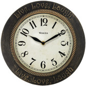WESTCLOX 32097 11 Round Live, Love, Laugh Wall Clock