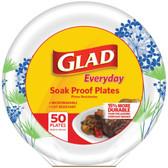 Glad BBP0100 10.25 Paper Plates, 50-ct (Round, Blue Hydrangea)