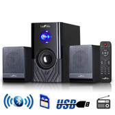 beFree Sound 2.1 Channel Surround Sound Bluetooth Speaker System -Black - BFS-15-RB - BVBVBVMEGA-BFS-15-RB