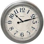 WESTCLOX 32931 15.5 Round Galvanized Finish Gray Wall Clock