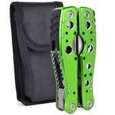 Jakemy JM-PJ1003 9-in-1 Multi-Tool Folding Pliers w/Knife Saw Bottle Opener Screwdriver Bit File & Case (Green)
