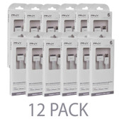 (12-Pack) PNY 6 USB 2.0 to 30-Pin Dock Connector Charge & Sync Cable for iPad iPhone & iPod (White)