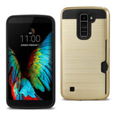 Reiko REIKO LG K10 SLIM ARMOR HYBRID CASE WITH CARD HOLDER IN GOLD