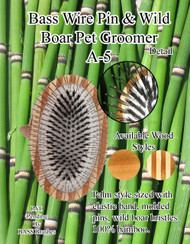 Bass Pet Brush PATENTED Multi-Sectioned Pad Palm Style with Elastic Band acts like 3 Brush Strokes in ONE! A5