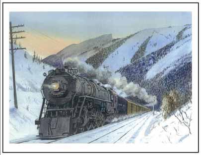 NP 2673 entering Bozeman MT Winter Cards