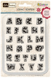 Kelly Panacci Flowers Upper Case Alpha Acrylic Stamp Set by Sandylion - 26 Stamps