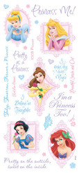 Disney Princess Collection Glitter Princess Phrases 6 x 12 Scrapbook Sticker Sheet by Sandylion