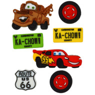 Disney Dress It Up Collection Cars Scrapbook Button Embellishments by Jesse James Buttons