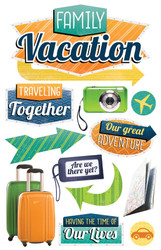 Away We Go Travel Collection Family Vacation Glittered 5 x 7 Scrapbook Embellishment by Paper House Productions