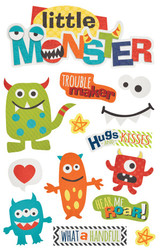 Little Monster Collection Little Monster 5 x 7 Glittered Scrapbook Embellishment by Paper House Productions