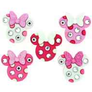 Disney Dress It Up Pink Glittered Minnie Mouse Icons Icons Scrapbook Button Embellishments by Jesse James Buttons