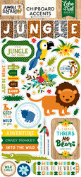 Jungle Safari Collection Jungle Safari 6 x 12 Adhesive Chipboard Accents by Echo Park Paper - 33 Pieces