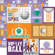 Volleyball Collection Journaling Cards 12 x 12 Double-Sided Scrapbook Paper by Echo Park Paper