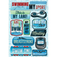 Swim On Collection Swimming Is My Sport 5.5 x 9 Scrapbook Sticker Sheet by Karen Foster Design