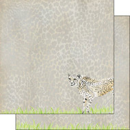 African Safari Collection Cheetah Safari 12 x 12 Double-Sided Scrapbook Paper by Scrapbook Customs