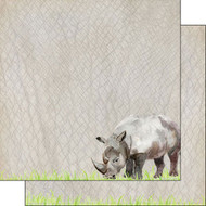 African Safari Collection Rhino Safari 12 x 12 Double-Sided Scrapbook Paper by Scrapbook Customs