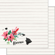 Watercolor Collection Hawaii 12 x 12 Double-Sided Scrapbook Paper by Scrapbook Customs