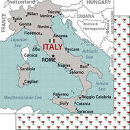 Travel Adventure Collection Italy Map 12 x 12 Double-Sided Scrapbook Paper by Scrapbook Customs