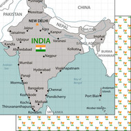Travel Adventure Collection India Map 12 x 12 Double-Sided Scrapbook Paper by Scrapbook Customs