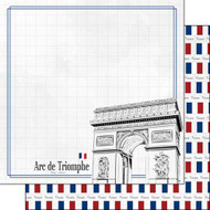 Travel Adventure Collection Arc de Triomphe 12 x 12 Double-Sided Scrapbook Paper by Scrapbook Customs