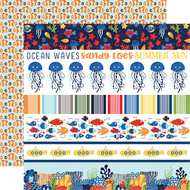 Under The Sea Collection Border Strips 12 x 12 Double-Sided Scrapbook Paper by Echo Park Paper