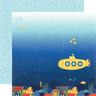 Under The Sea Collection Submarine Scene 12 x 12 Double-Sided Scrapbook Paper by Echo Park Paper