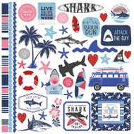 Shark Attack Collection Element 12 x 12 Scrapbook Sticker Sheet by PhotoPlay