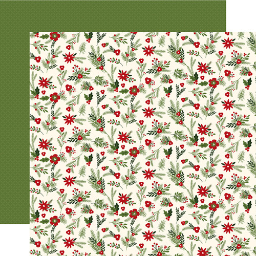Christmas Delivery Collection Festive Florals 12 x 12 Double-Sided Scrapbook Paper by Carta Bella