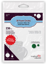 3D Foam Circles Permanent White Mix (.50 & .25) Double-Sided Adhesive by Scrapbook Adhesives - 236 Pieces