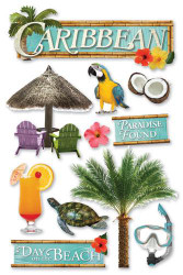 Caribbean 3-D Glitter Embellishments by Paper House Productions