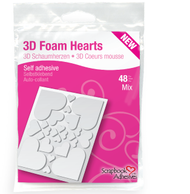 3D Adhesive Foam Hearts by Scrapbook Adhesives - Pkg. of 48