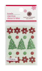 Scandinavian Christmas Glitter Brads by Martha Stewart Crafts - Pkg. of 19