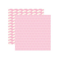 Baby Basics Collection Baby Girl Teddy Bear 12 x 12 Double-Sided Shimmer Scrapbook Paper by Reminisce