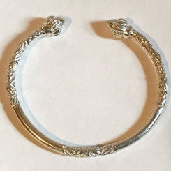 Silver Bangle- Round Tips