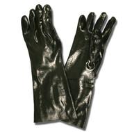 Black PVC Coated Gloves, Rough Finish, Interlock Lined, 18-INCH (Dozen)
