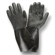 Black PVC Coated Gloves, Etched Finish, Interlock Lined, 14-INCH (Dozen)