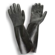 Black PVC Coated Gloves, Etched Finish, Interlock Lined, 18-INCH (Dozen)