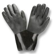 Black PVC Coated Gloves, Sandpaper Finish, Interlock Lined, 12-INCH (Dozen)