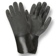 Black PVC Coated Gloves, Sandpaper Finish, Jersey Lined, 12-INCH (Dozen)