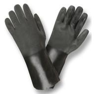 Black PVC Coated Gloves, Sandpaper Finish, Jersey Lined, 14-INCH (Dozen)