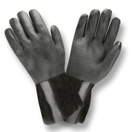 Black PVC Coated Gloves, Etched Finish, Jersey Lined, 12-INCH (Dozen)
