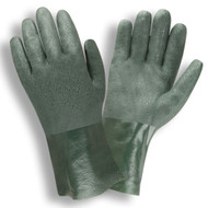 Green PVC Coated Gloves, Etched Finish, Jersey Lined, 10-INCH (Dozen)